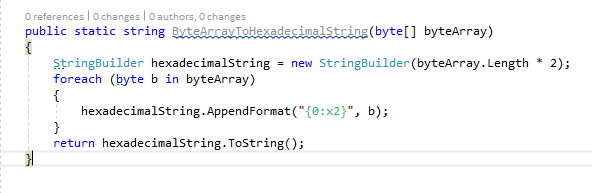 convert byte array to a hexadecimal string in C#